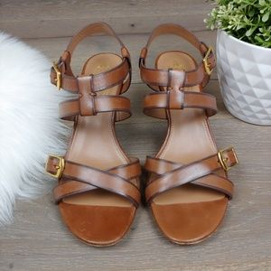 Elie Tahari Brown Strappy Sandals Kitten Heel